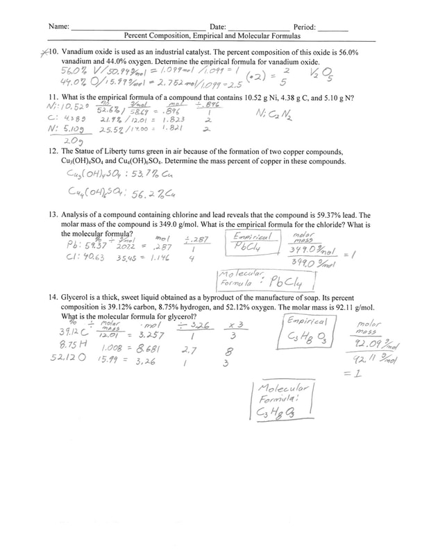 All Categories Ms McLartys Classes – Percent Composition and Molecular Formula Worksheet